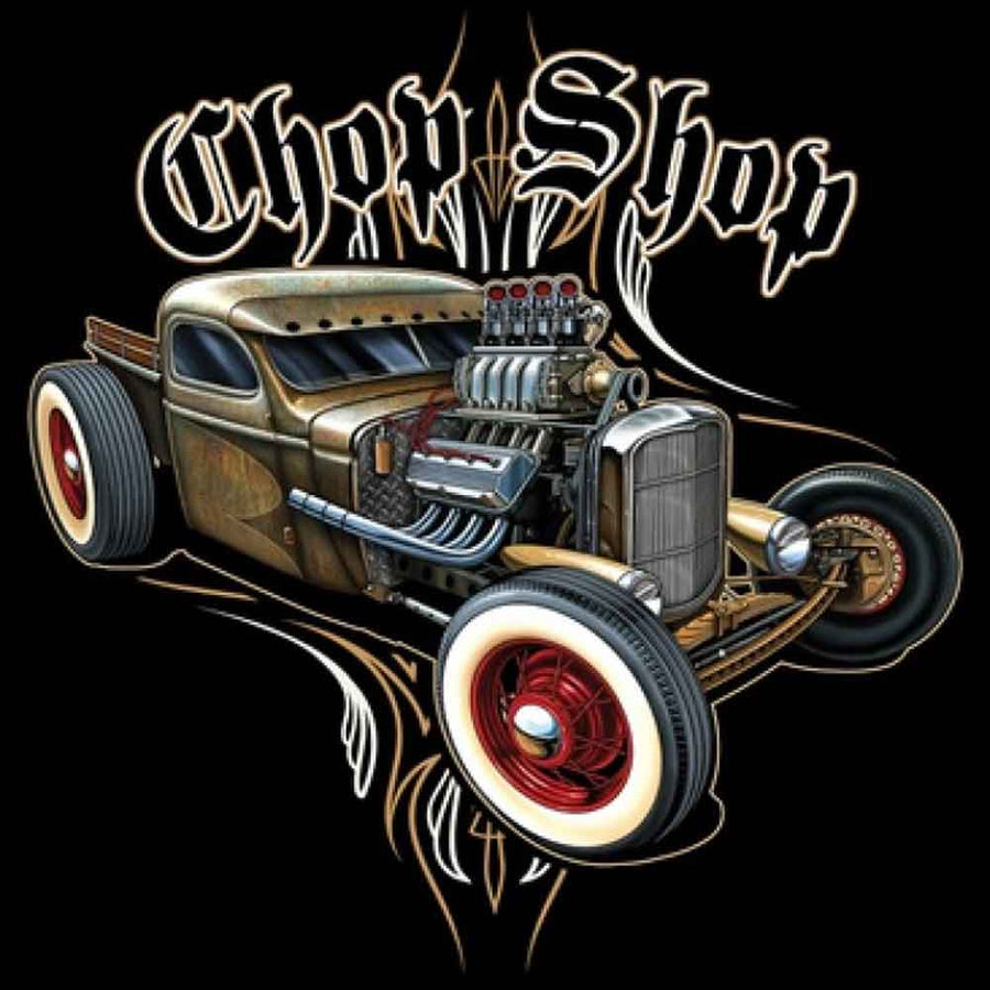 Chop Shop Hot Rod Printed T-Shirt-Black