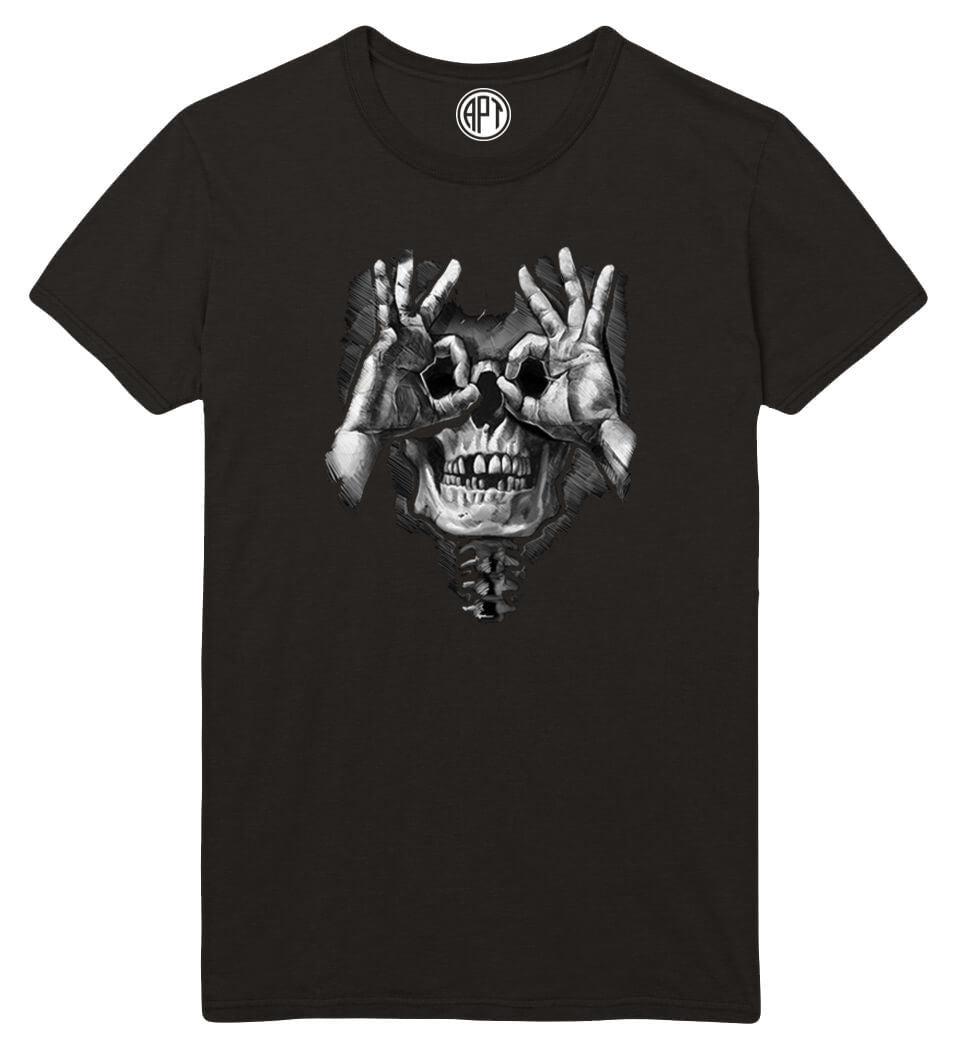 Luctus Skull Hands  Printed T-Shirt-Black