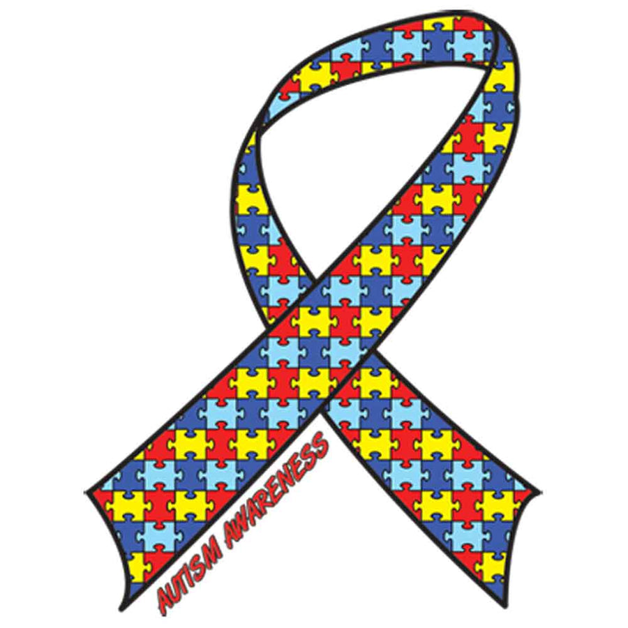 Autism Awareness Ribbon Printed T-Shirt-Black