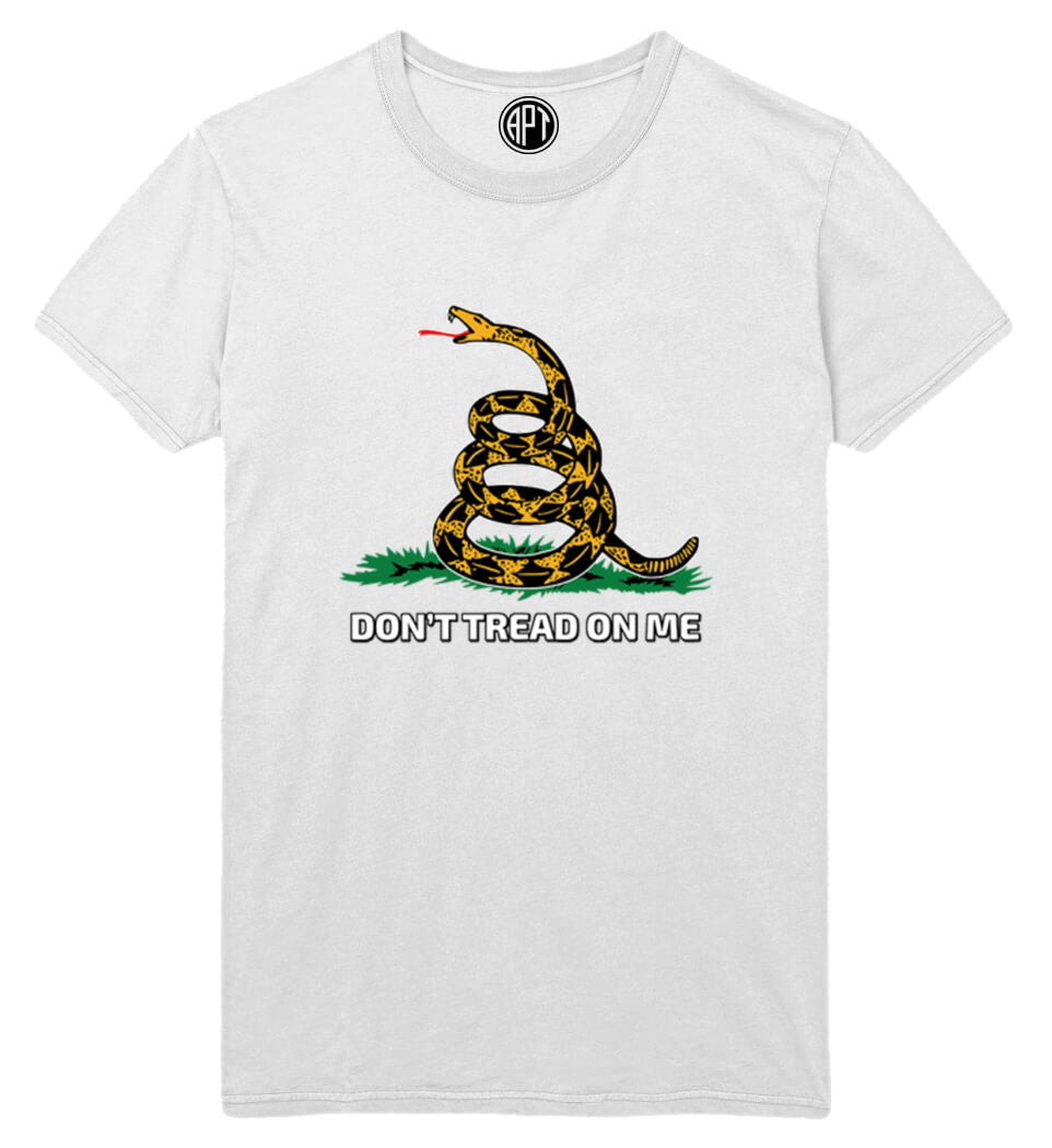 Don't Tread On Me Gadsden Flag Printed T-Shirt-White