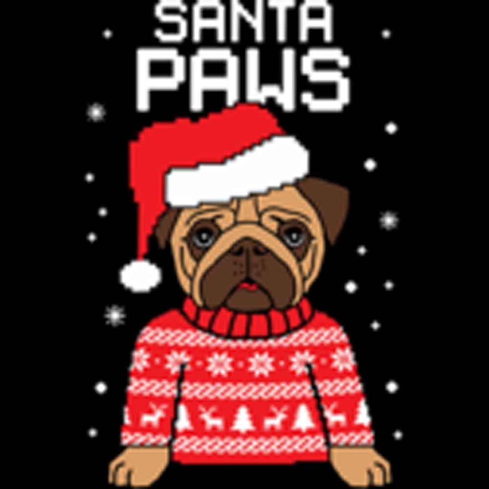"Santa Paws Ugly Christmas ""Sweater"" Printed T-Shirt-Black"