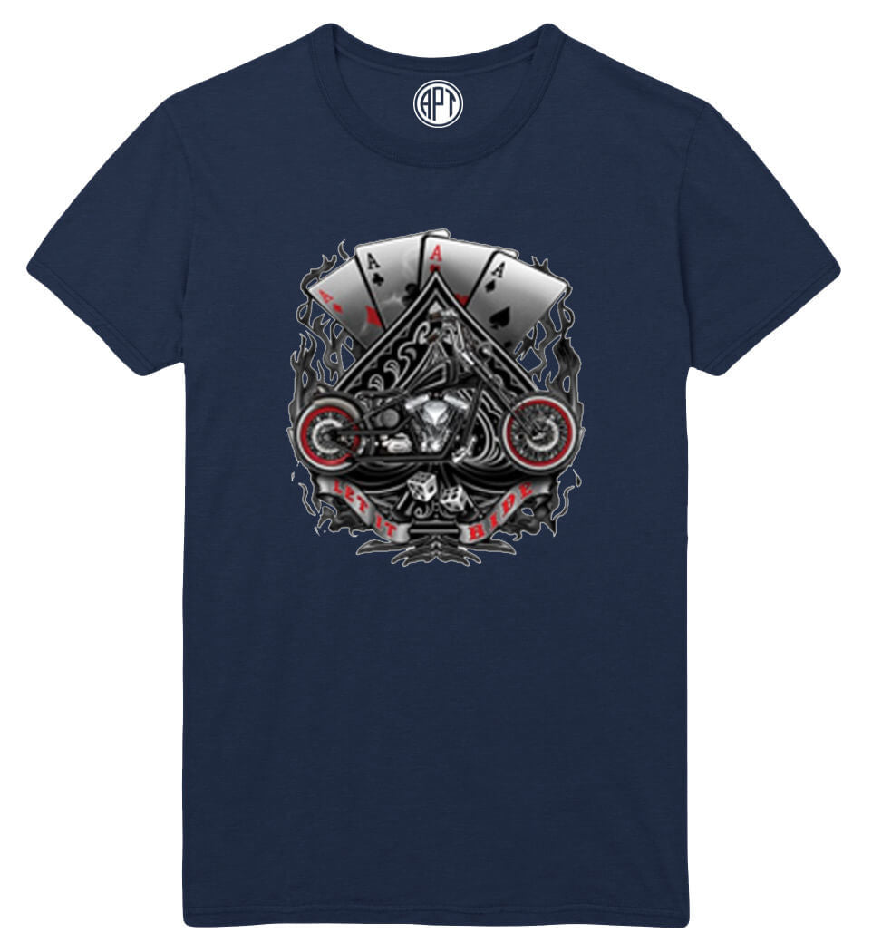 Aces And Motorcycle  Printed T-Shirt Tall