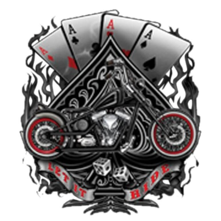 Aces And Motorcycle Printed T-Shirt