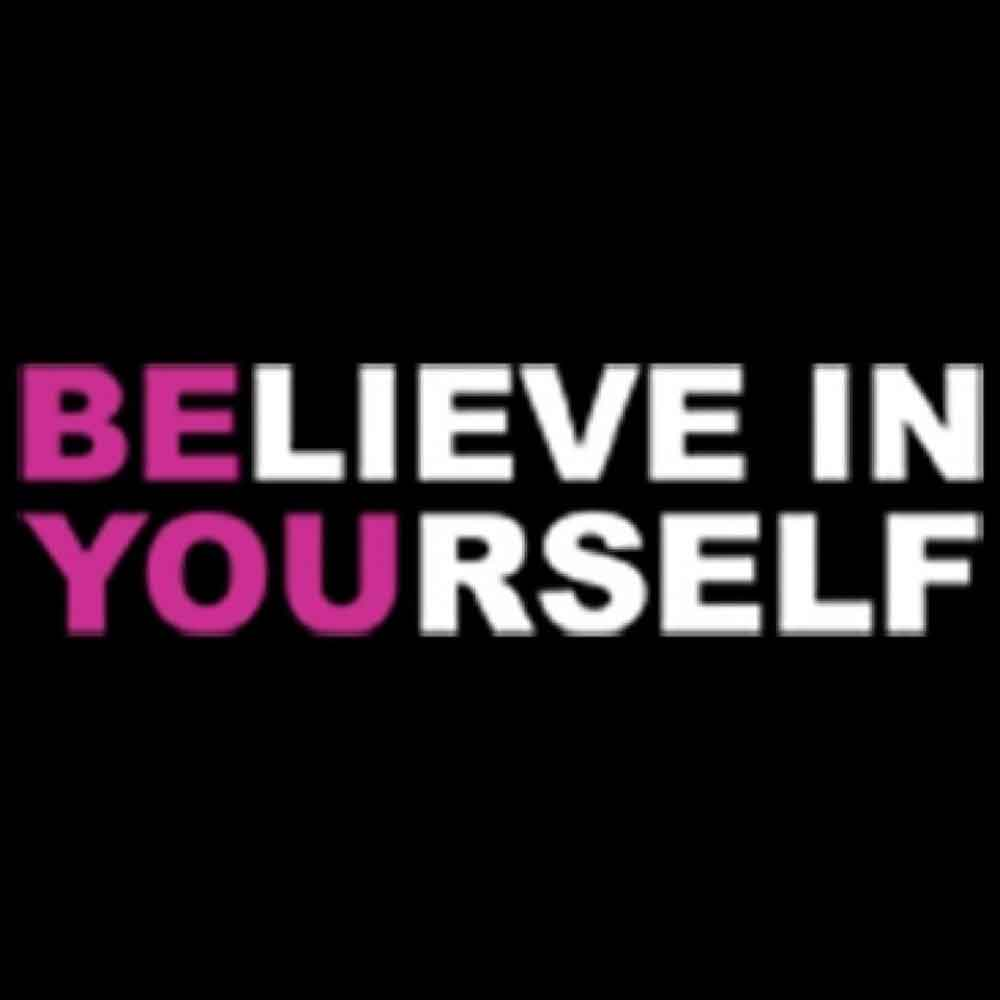 Believe In Yourself Neon Printed T-Shirt-Black