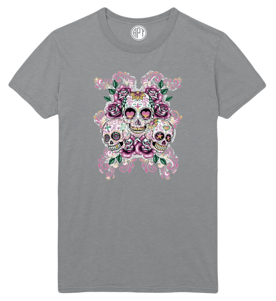 3 Sugar Skulls With Flowers Printed T-Shirt Tall