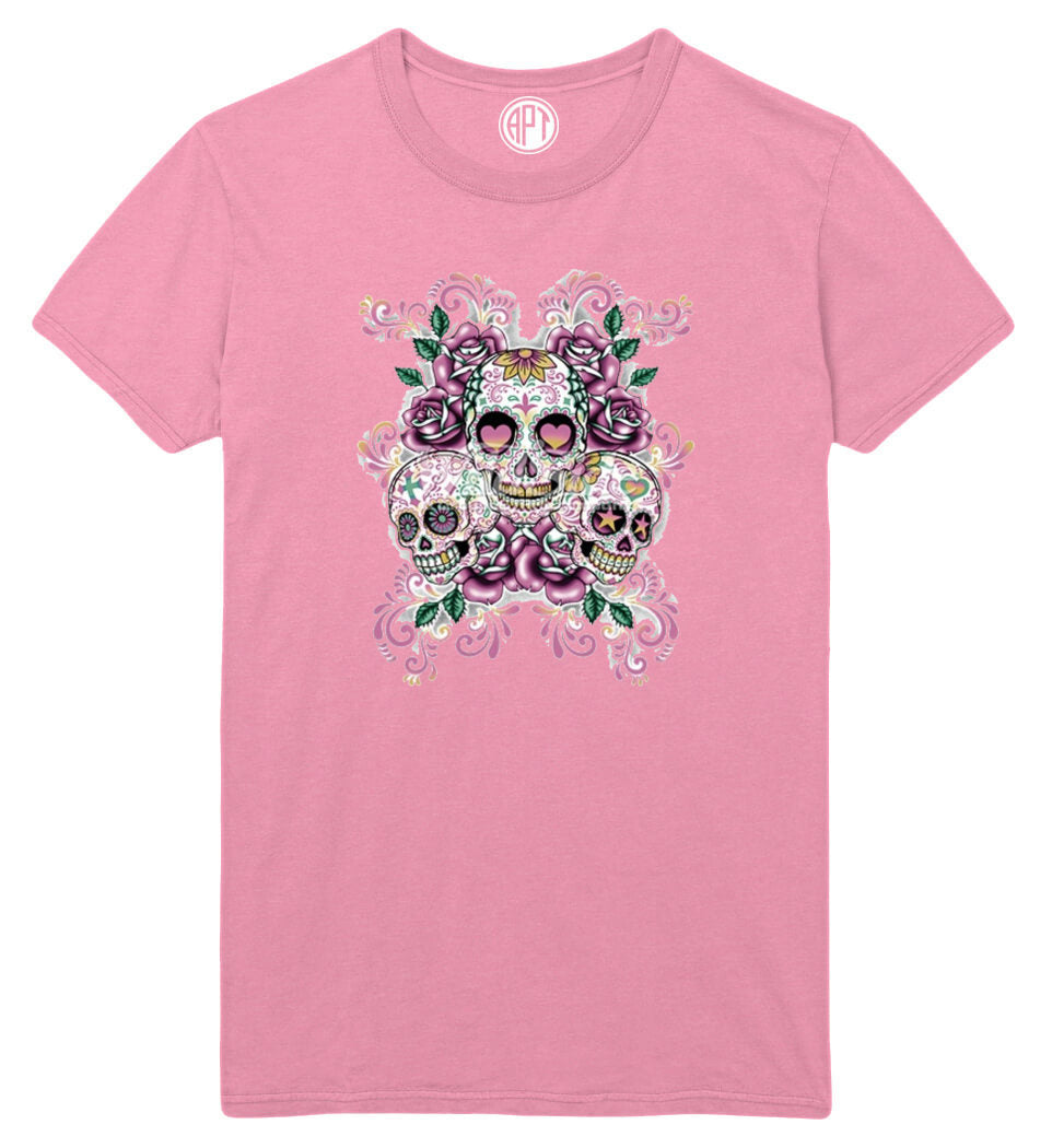 3 Sugar Skulls With Flowers Printed T-Shirt