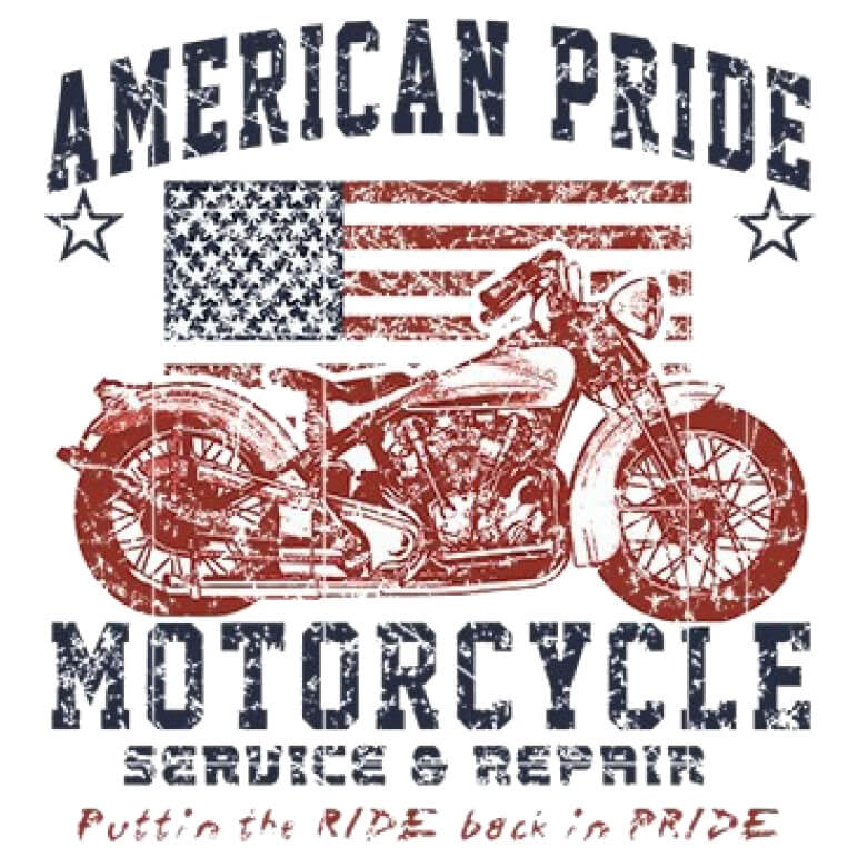 American Pride Motorcycle Printed T-Shirt Tall
