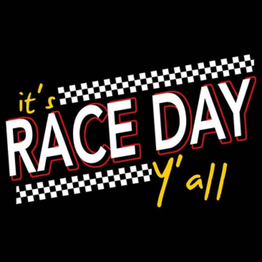 It's Race Day Y'all Printed T-Shirt-Black