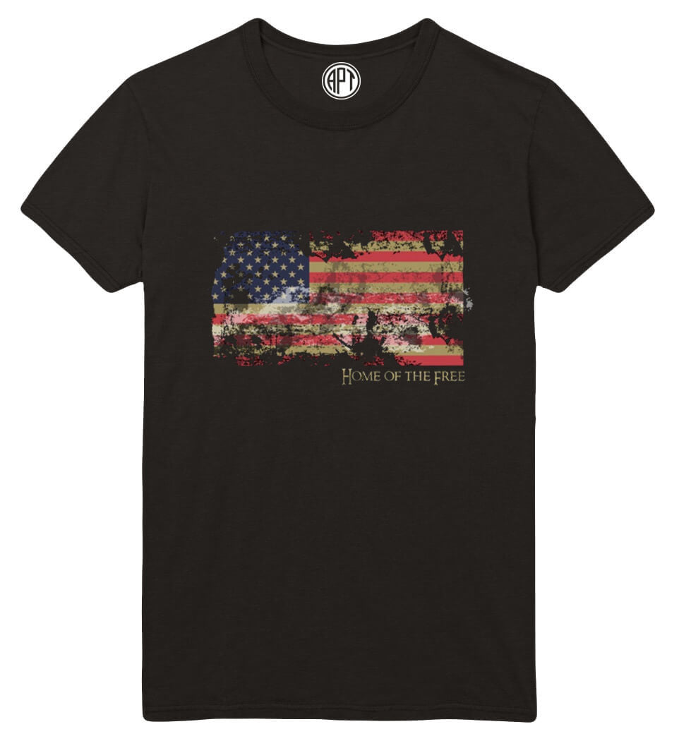 Home of The Free with American Flag Printed T-Shirt-Black