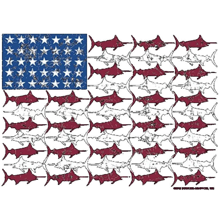 American Flag Fish Printed T-Shirt