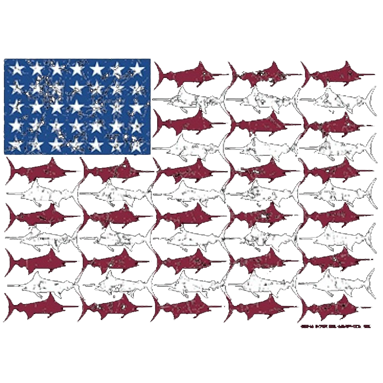 American Flag Fish Printed T-Shirt Tall