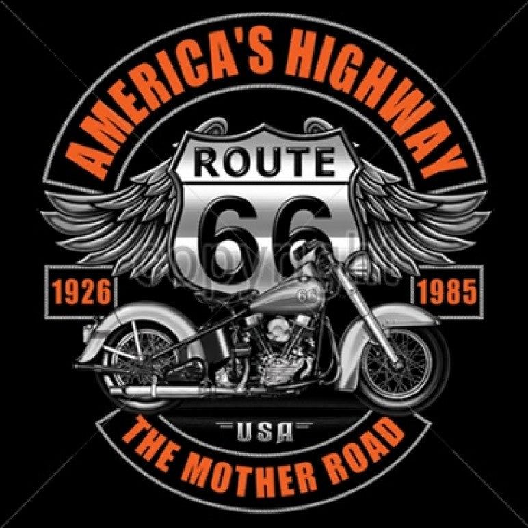 America's Highway Route 66 The Mother Road Printed T-Shirt