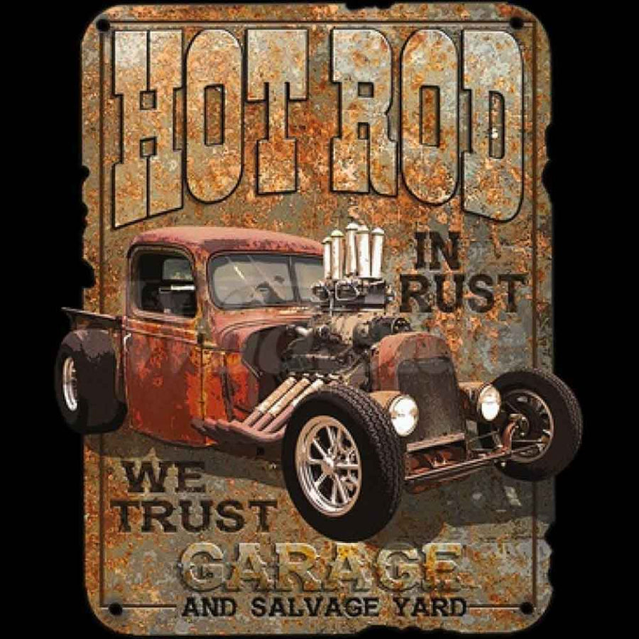 Hot Rod Garage and Salvage Printed T-Shirt-Black