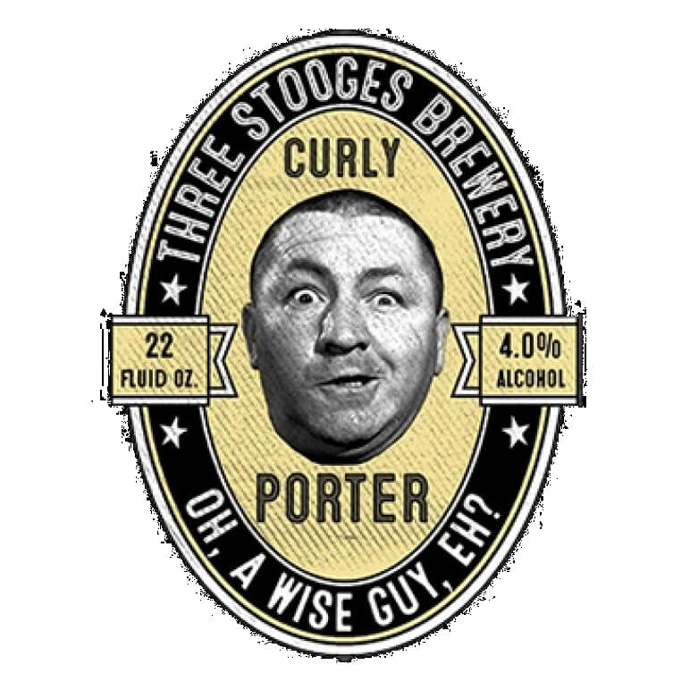 Three Stooges Brewery Curly Porter Funny Printed T-Shirt