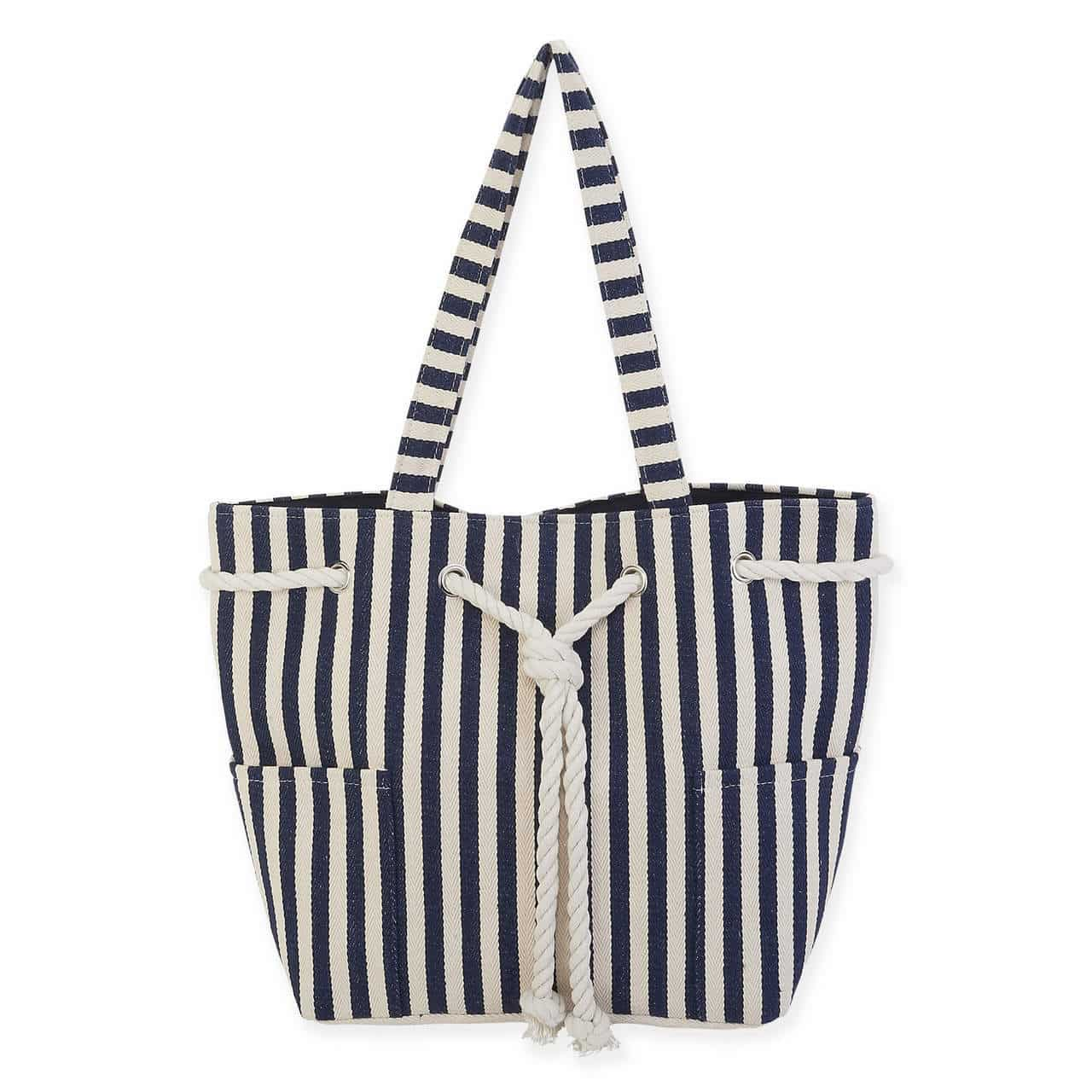 Vertical Stripe Canvas Shoulder Tote by Sun N Sand - Navy