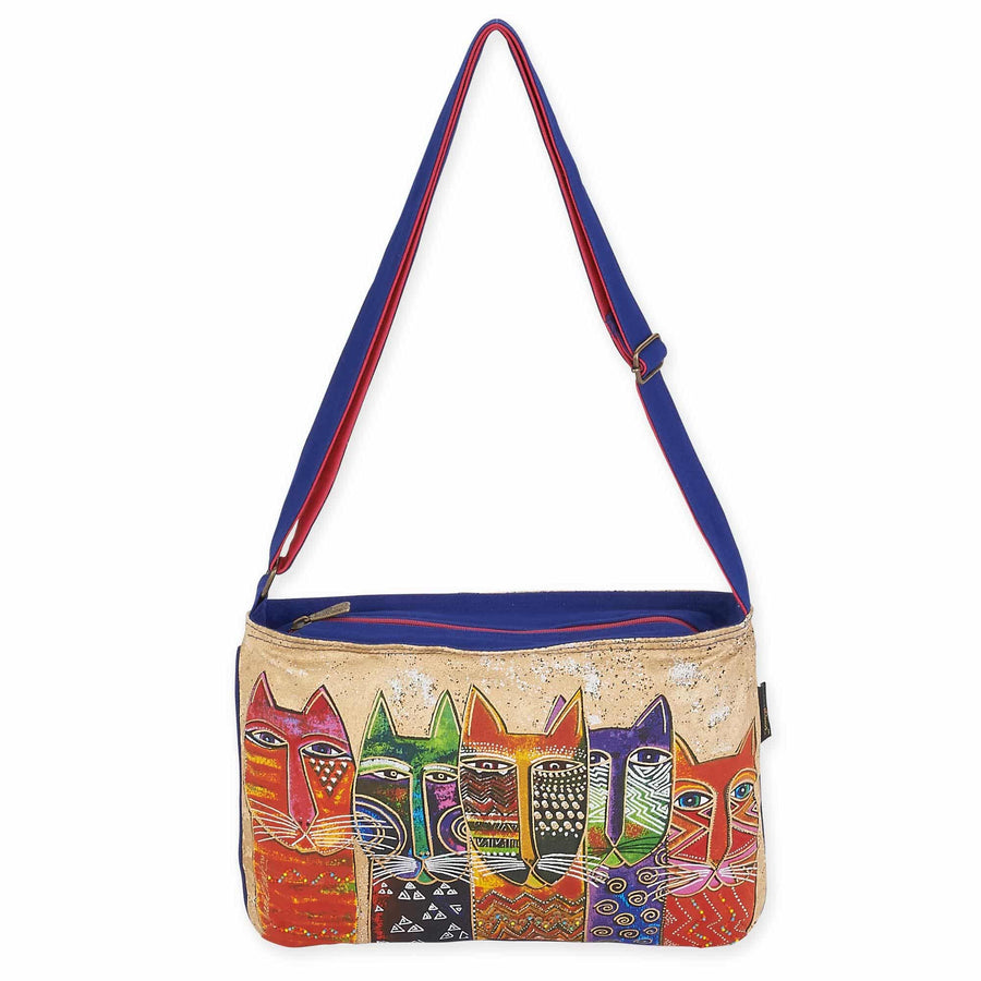 Long Neck Cats Medium Crossbody by Laurel Burch