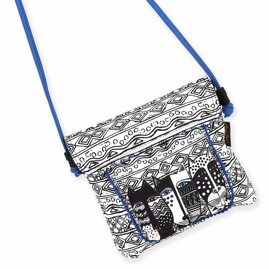Black & White Flap Over Crossbody by Laurel Burch