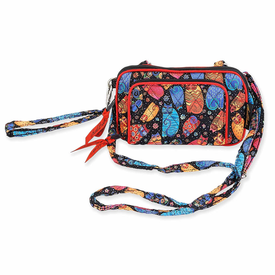 All in One Multi Feline Cats Quilted Crossbody Bag by Laurel Burch