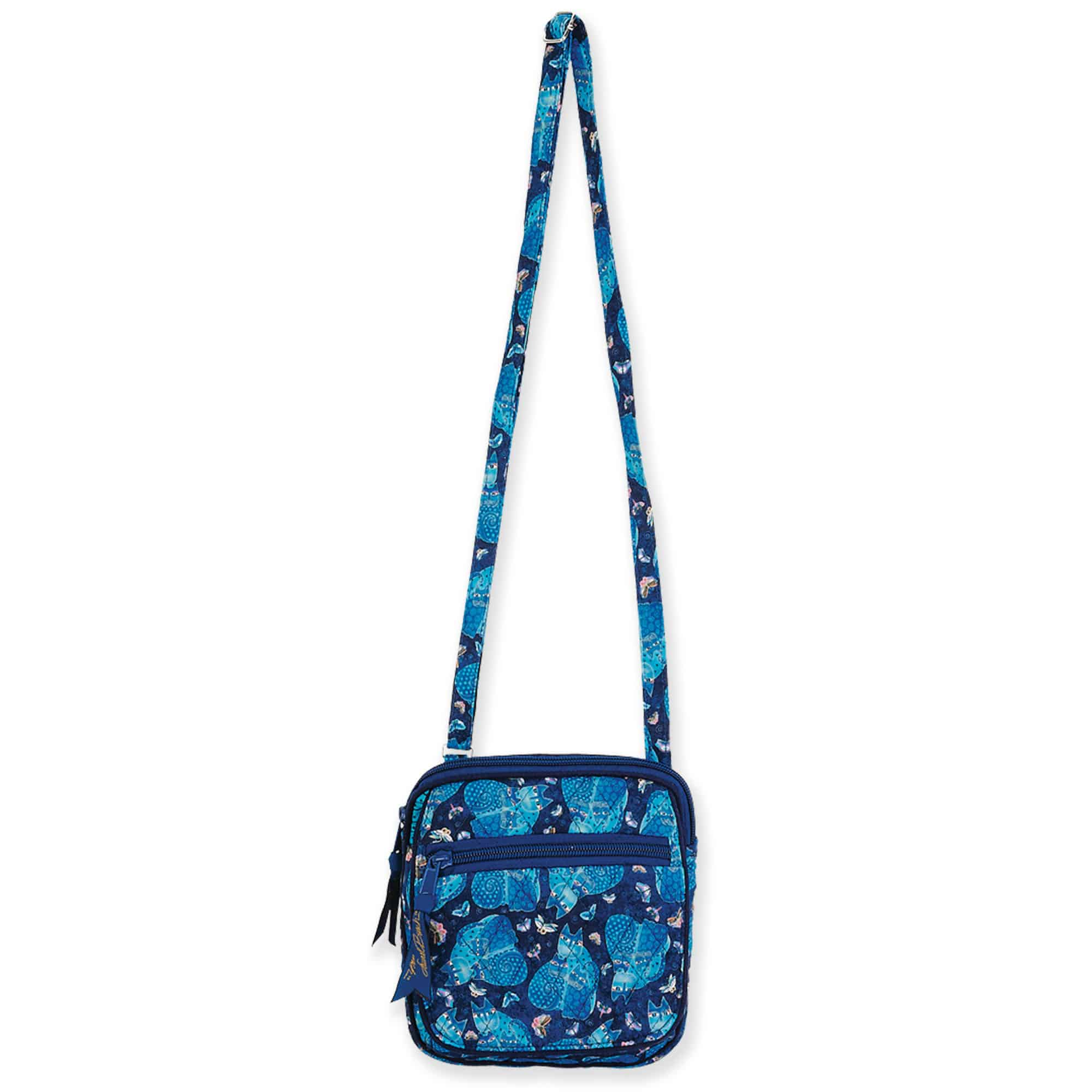 Indigo Cats Quilted Cotton Small Crossbody by Laurel Burch