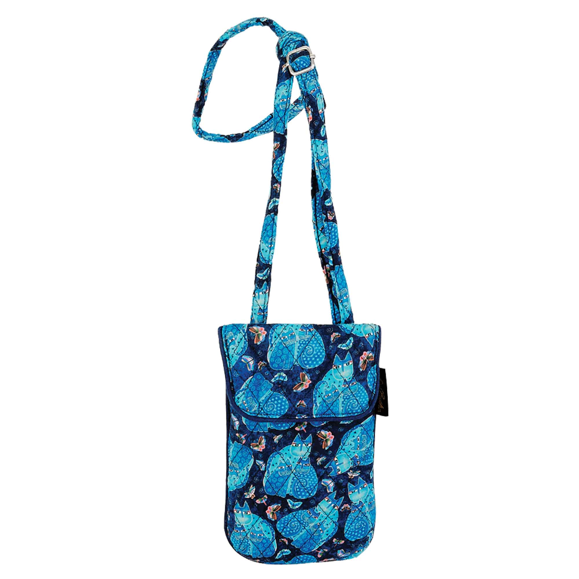 Quilted Indigo Cats Flapover Crossbody by Laurel Burch