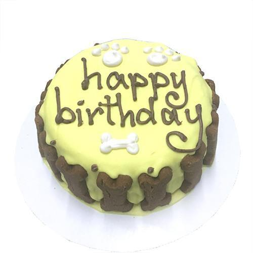 Classic Dog Birthday Cake - Yellow