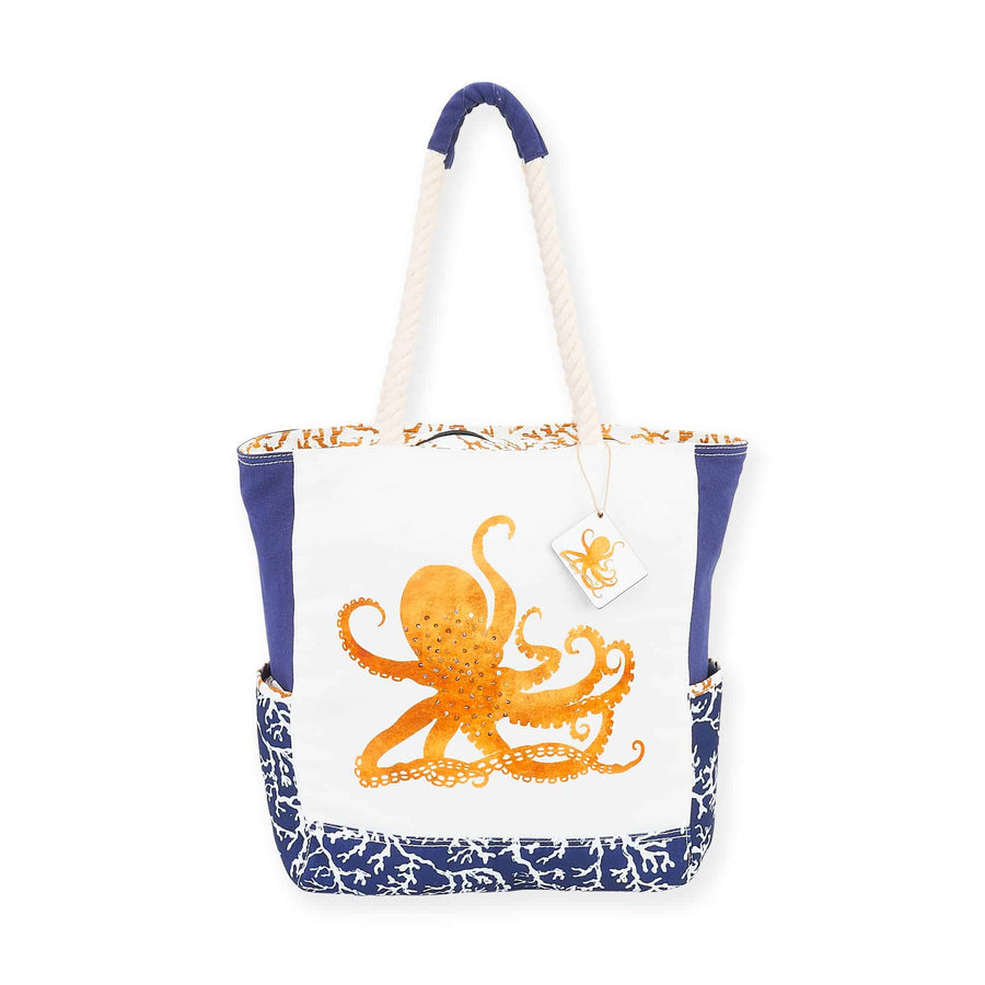 Sea Life White & Blue Shoulder Tote by Sundance - Octopus