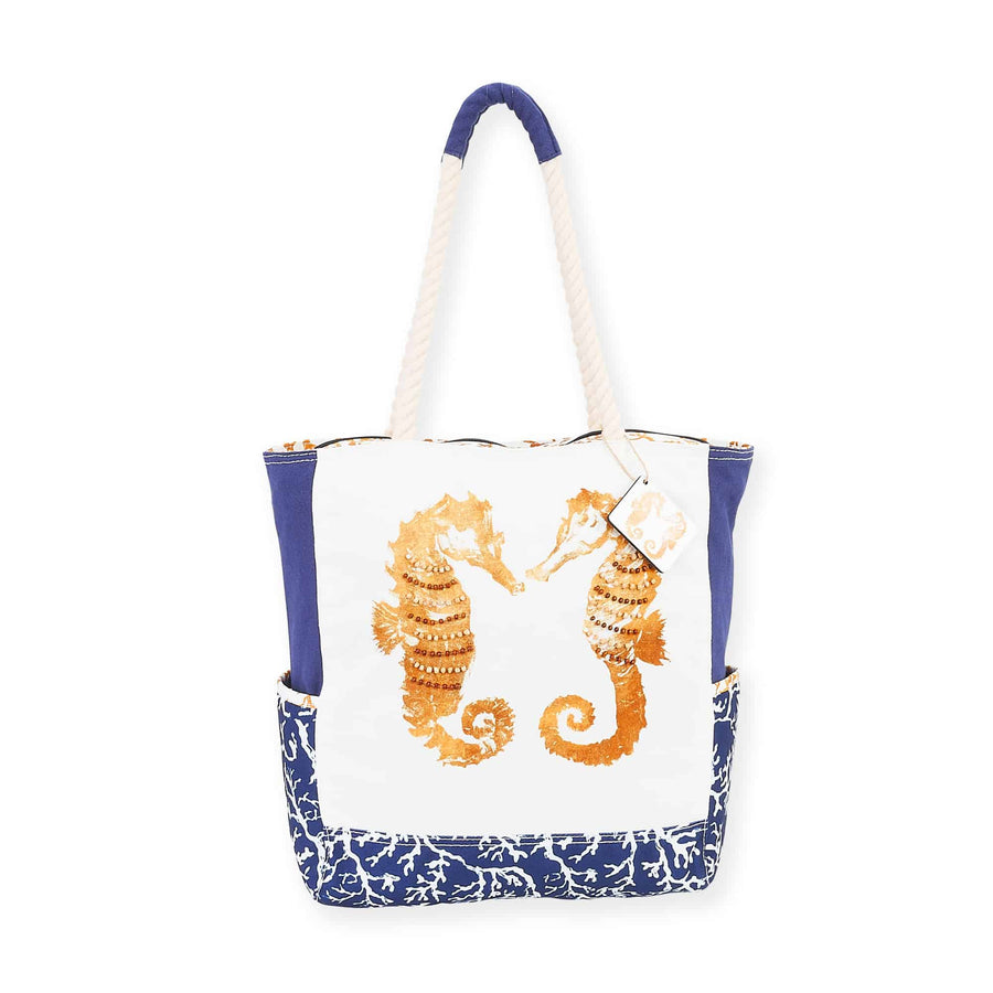 Sea Life White & Blue Shoulder Tote by Sundance - Seahorse