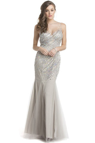 Prom Dress with Illusion Neckline