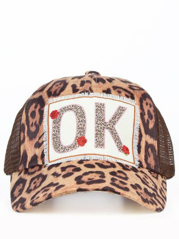 OK Leopard & Rose Hat