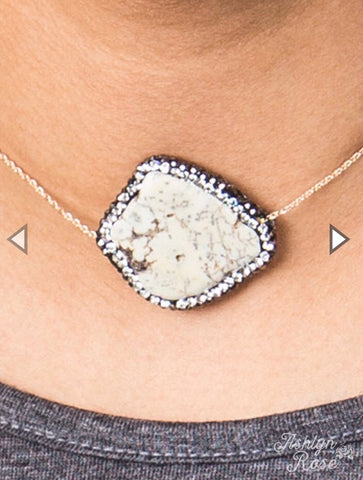 Cream Stone Pendant in Choker Chain