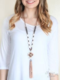 Chunky Cream Cross Necklace
