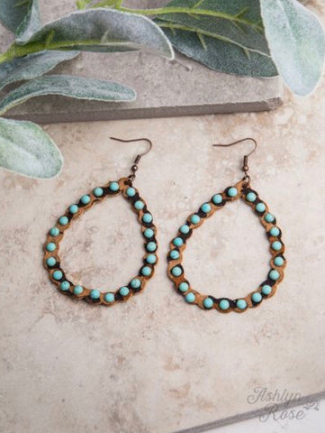 Leopard Leather Scalloped Teardrop Earrings, Turquoise