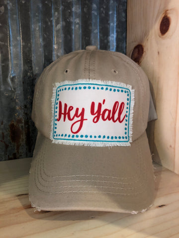 "Hat - Khaki ""Hey Y'all"""