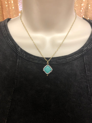 Necklace - Short Turquoise gold halo necklace