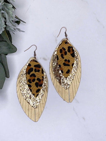 Three Tiered Leopard Earrings