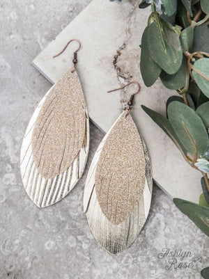 Large Glitter Feather Earrings in Champagne