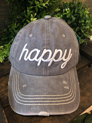 White Happy Embroidery on Grey Hat