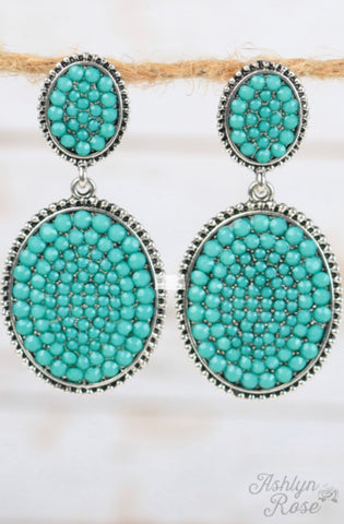 Turquoise Crystal Double Oval Statement Studs