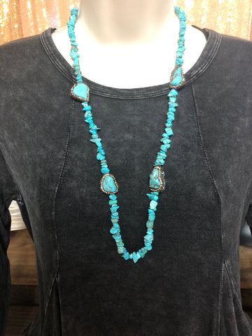 Necklace - Turquoise rock with gold crystal halos