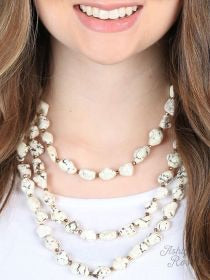 Country White Stone Multi Layer Necklace
