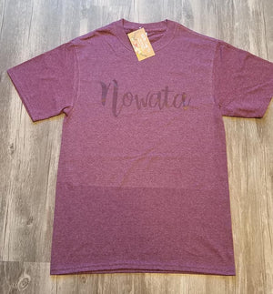 Nowata Tee on Heather Maroon
