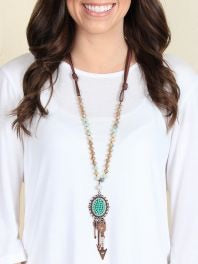 The Airy Beaded Turquoise Pendant with Arrow Accents
