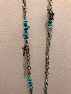 Necklace & Earrings Set - Feather, Leather and Turquoise