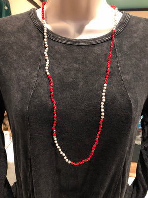 Necklace - Red and White Beaded