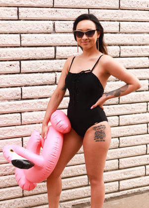 Basic in Black One Piece Swimsuit