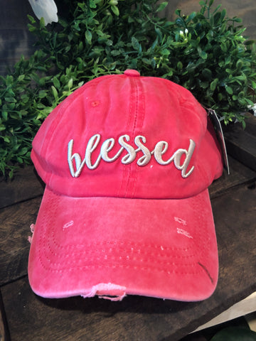 Beige Blessed Embroidered Hat Red