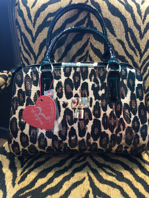 Purse - Black and Gold Cheetah print