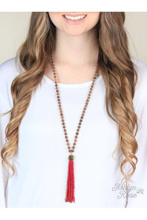 Burgundy Miss Fancy Tassel Necklace