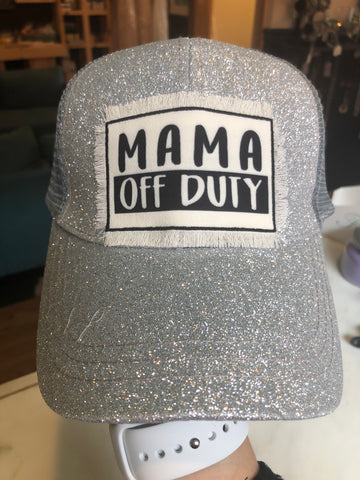 Mama Off Duty Glitter Pony Cap