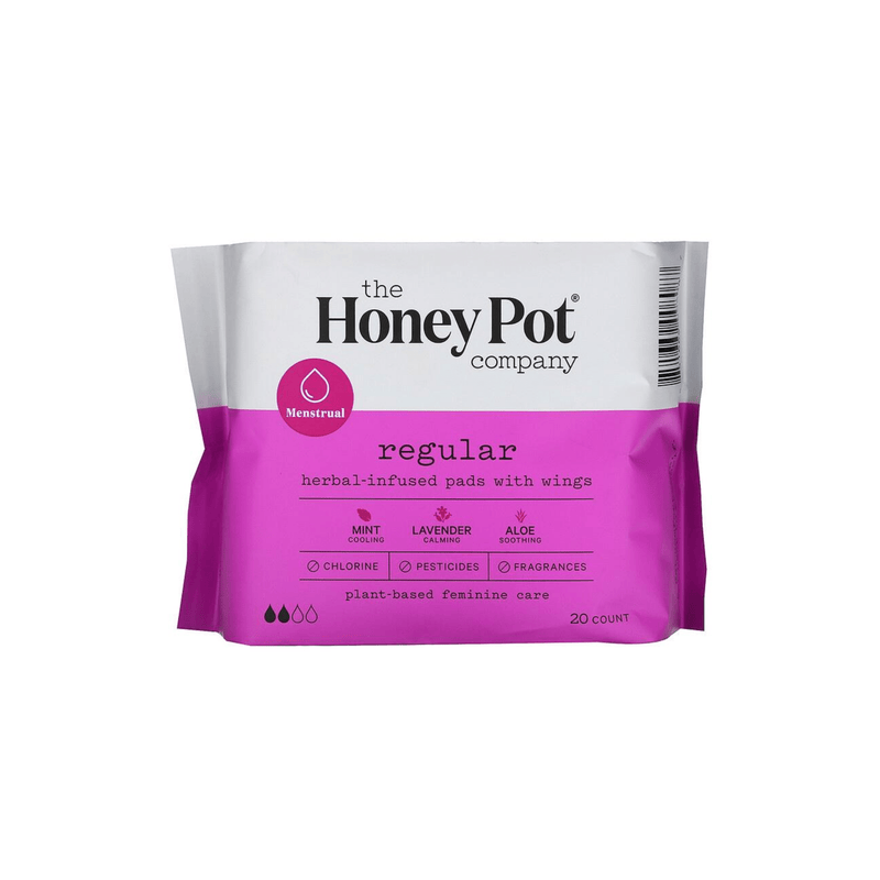 The Honey Pot Co. Feminine Wellness Regular Herbal Pads with Wings
